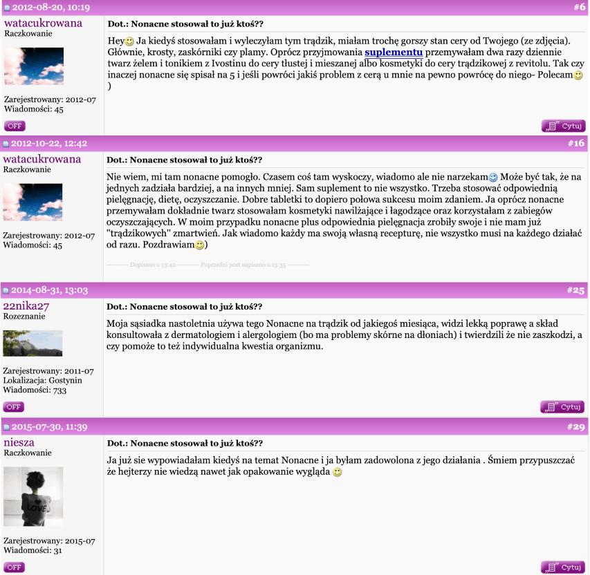 Opinie użytkowników Nonacne forum