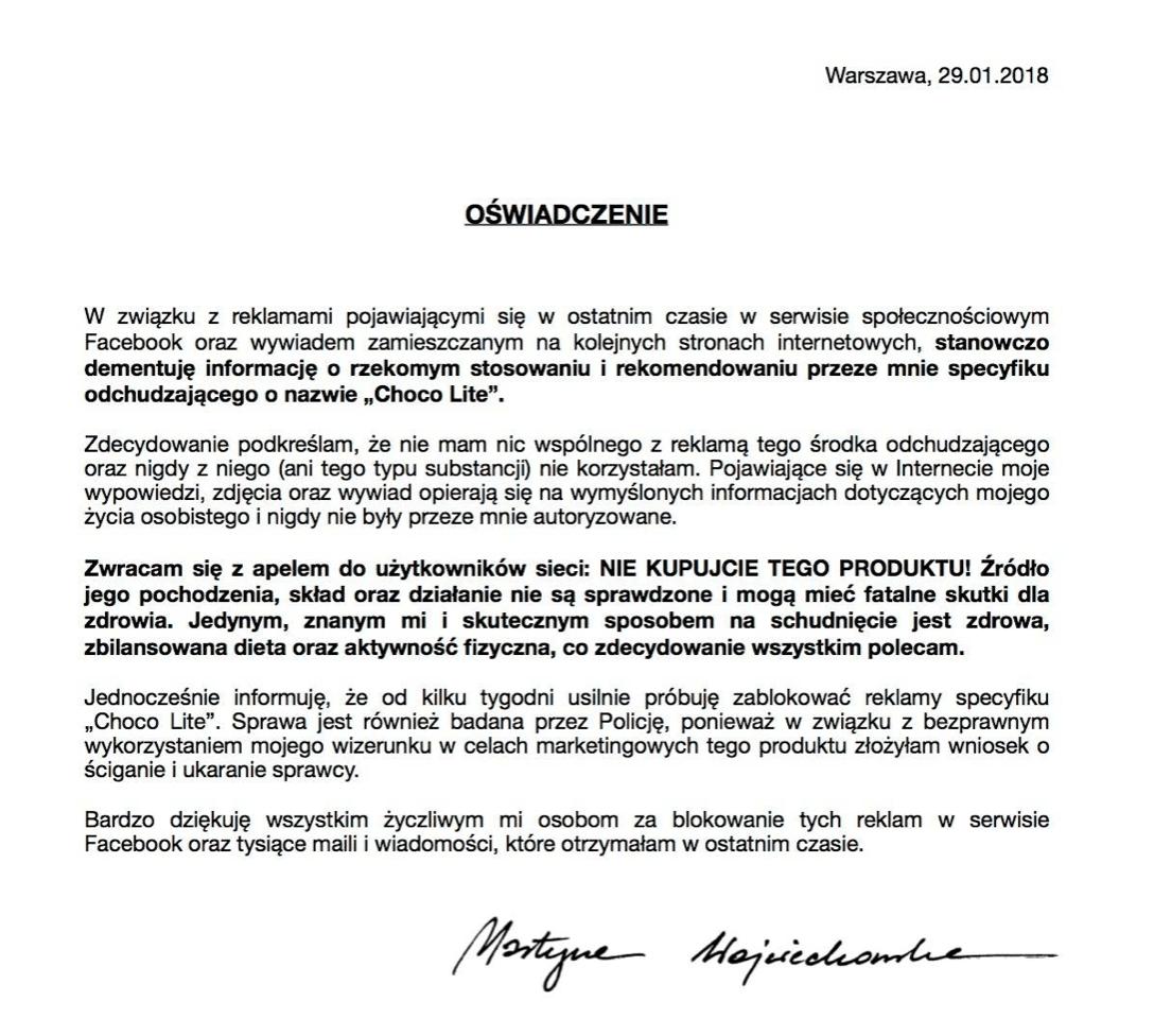 Oswiadczenie Martyny Wojciechowskiej ws Choco Lite