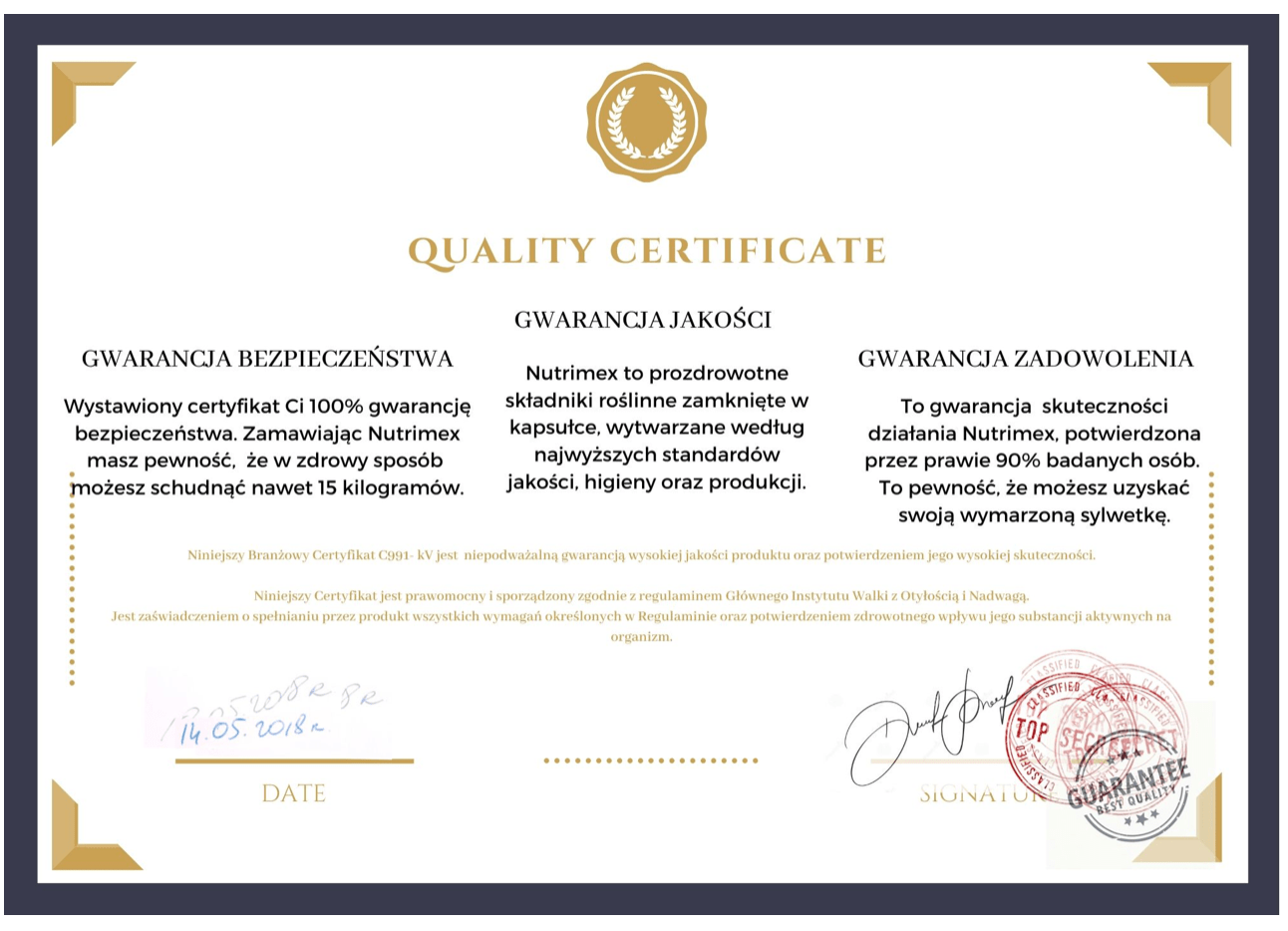Falszywy certyfikat